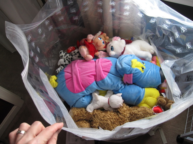 Bag full of stuffed animals